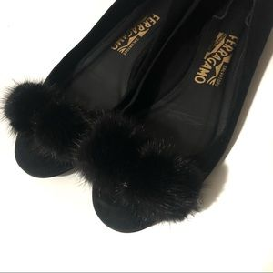 Salvatore Ferragamo Ballet Flats with Black Pompom